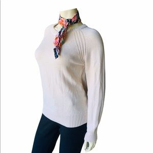 Jeanne Pierre Ivory 100% Cotton Cable Knit Sweater